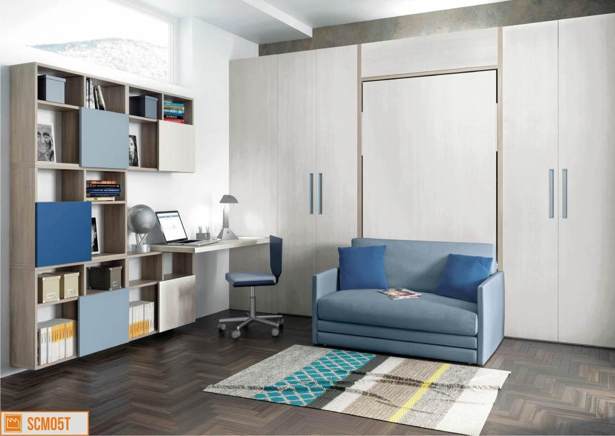 parete con divano e letto a ribalta
