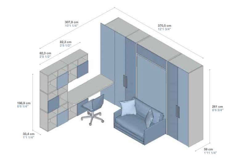misure della composizione con divano
