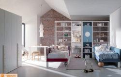 Cameretta simmetrica con libreria Palo e letti a terra