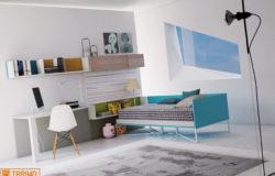 Cameretta con divanetto Style e zona studio completa