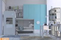 Soppalco azzurro per camera doppia ad angolo