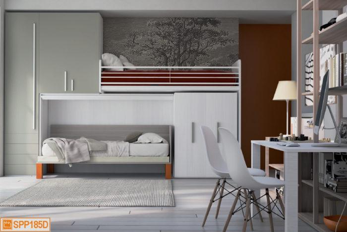 Il letto alto avanza per dare accesso a una comoda pedana