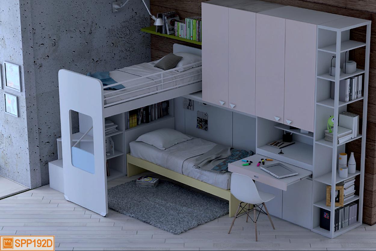 Una cameretta a soppalco con scrivania